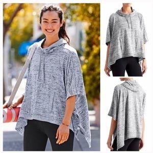 Athleta Blissful Hooded Knit Poncho Grey Size M